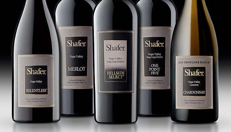 Shafer wine bottles in a group